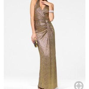 Gold Faux Wrap Gown